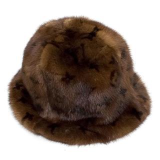 Louis Vuitton Mink Fur Bucket Hat with Monogram Print