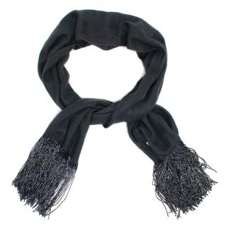 Bajra Grey Cashmere Blend Scarf with Beading