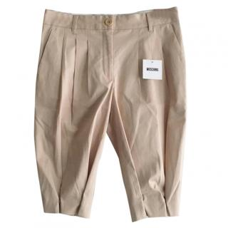 Moschino Beige Pleated Popper Bottom Shorts