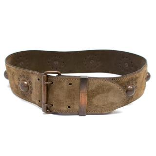 Alaia Brown Studded Suede Belt