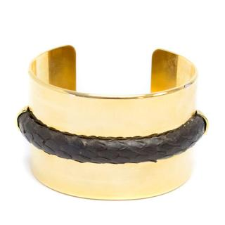 Stephane Rolland Gold Bangle with Faux Snake Skin Band