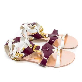 Giuseppe Zanotti Burgundy and White Leather Sandals