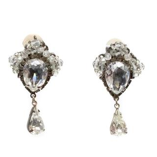 Erickson Beamon Silver Crystal Clip On Earrings