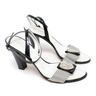 Giuseppe Zanotti Black and White Striped Sandals