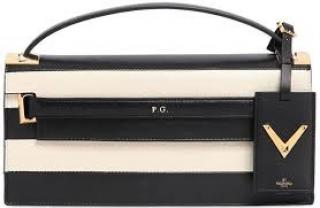 Valentino Black and White Striped Rockstud Clutch