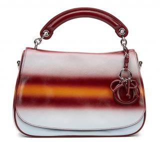 Christian Dior Maroon, Mustard & Blue Gradient Grained Calfskin Bag