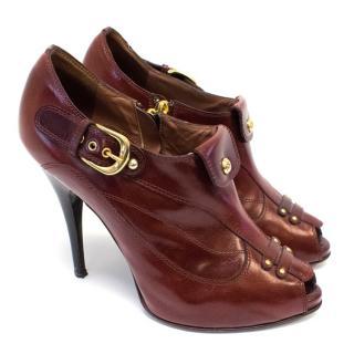 Giuseppe Zanotti Burgundy Leather Heeled Boots