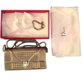 Dior Diorama Micro Cannage Wallet in Metallic Champagne