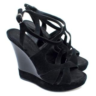 Donna Karen Black Suede and Patent Leather Wedges