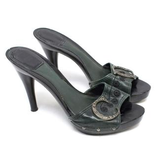 Dior Bottle Green Leather Mule Sandals