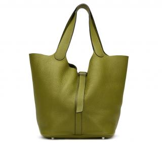 Hermes Vert Anis Clemence Leather Picotin GM