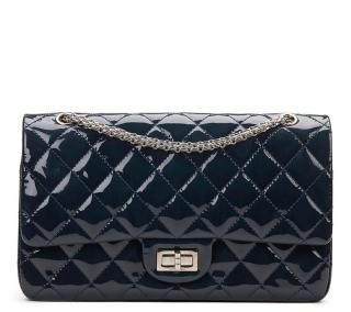Chanel Navy Quilted Patent Leather 2.55 Reissue 227 Double Flap  2010