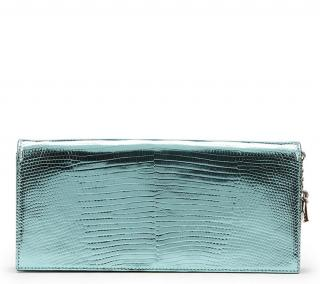 Dior Mint Embossed Metallic Patent Leather Evening Clutch 2010