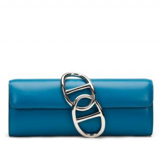 Hermes Blue Izmir Tadelakt Leather Egee Clutch