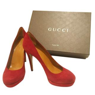 Gucci Red Suede High Heels