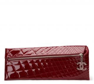 Chanel Burgundy Quilted Patent Leather Geometric Clutch