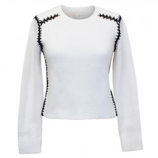 Maje cream jumper with black open stitching