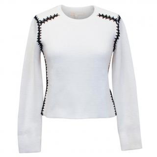 Maje cream jumper with black open stitching