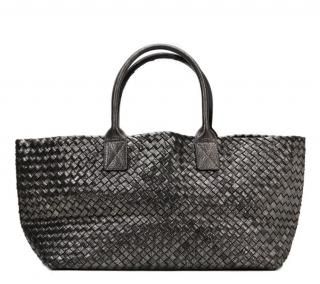 Bottega Veneta Metallic Silver Woven Calfskin Medium Cabat