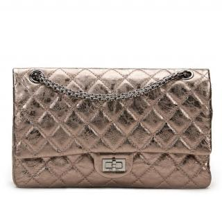 Chanel Bronze Aged Quilted Metallic Calfskin 2.55 Reissue 226 Double F