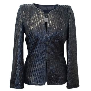 Chanel Navy Blue Lambskin Sparkly Jacket