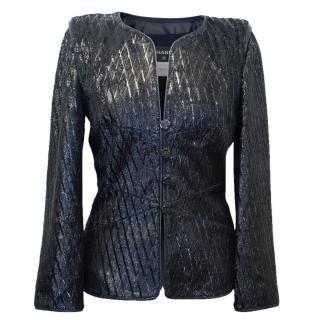 Chanel Navy Blue Lambskin Sparkly Jacket