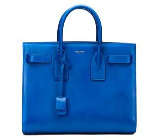 Saint Laurent Royal Blue Calfskin Classic Small Sac De Jour