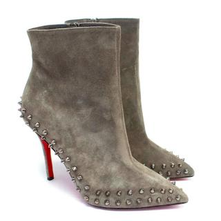 Christian Louboutin Taupe Willetta 100 Spiked Ankle Boots