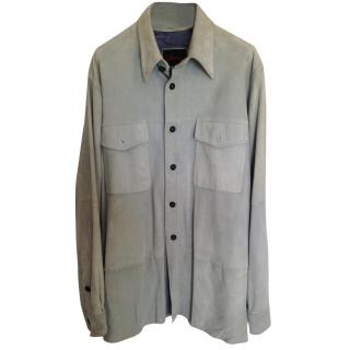 Brioni light blue suede leather shirt jacket