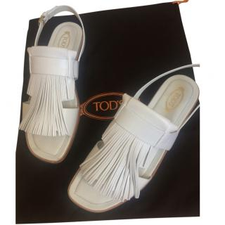 Tod's white leather sandals