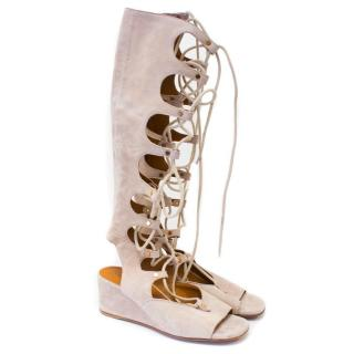 Chloe Cream Suede Lace Up Gladiator Sandals
