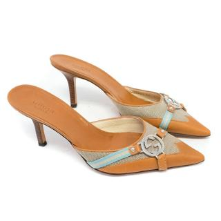 Gucci Tan Pointed Heeled Mules