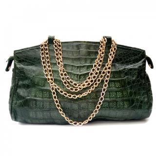 Fendi Vintage Green Crocodile Shoulder Bag