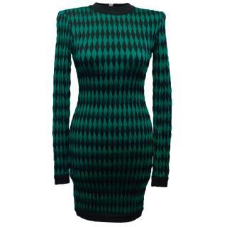 Balmain Green and Black Patterned Bodycon Dress