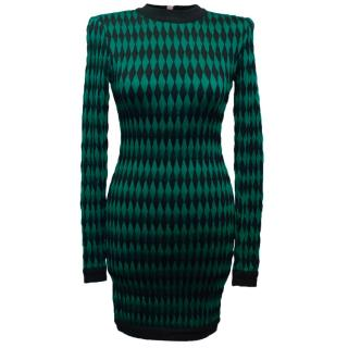 Balmain Green and Black Patterned Bodycon Dress