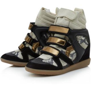 Isabel Marant Bonny Black and Snake Print Wedge Sneakers