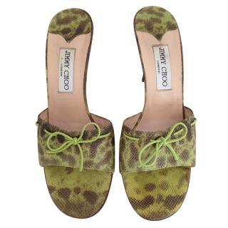 Jimmy Choo light green lizard mules