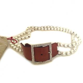 Valentino white pearl belt with buckle