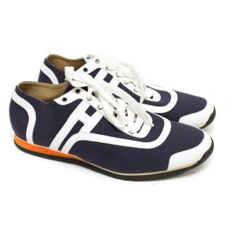 Hermes Men's Navy Blue Canvas 'Kool' Sneakers