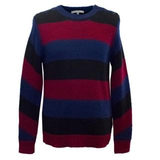 Carven Men's Black, Navy and Burgundy Striped Knit Jumper