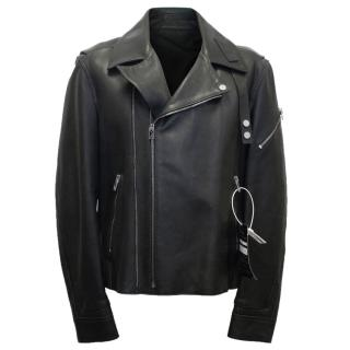 Balenciaga Men's Black Leather Biker Jacket