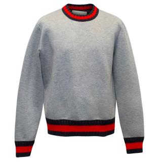 Gucci Men's Grey Neoprene Jumper with Knitted Details