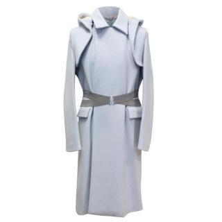 Kenzo Men's Baby Blue Wool Coat with Shearling Hood