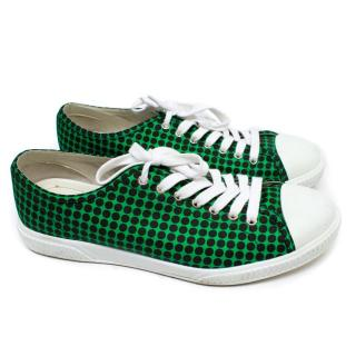 Prada Men's Black and Green Spotted Trainers