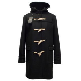 Saint Laurent Men's Black Duffle Coat with Toggle Buttons