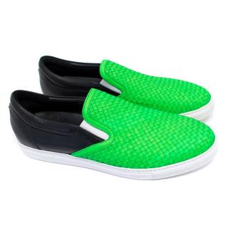 DSquared Men's Neon Green Woven Leather Skater Shoes