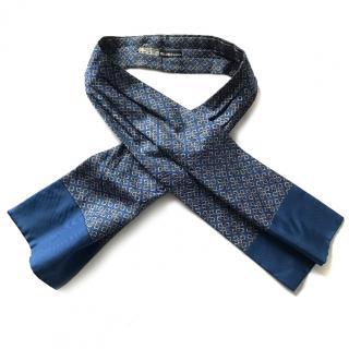 Hermes silk blue chain ascot cravat