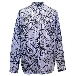 Marni Men's Blue Striped Shirt with Black Pattern