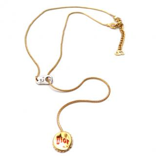 Christian Dior Vintage Y Soda cap Necklace