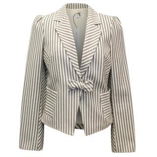 Diane von Furstenberg Striped Blazer with Bow Detail